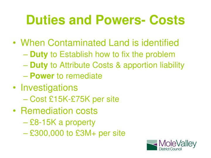Duties and Powers- Costs