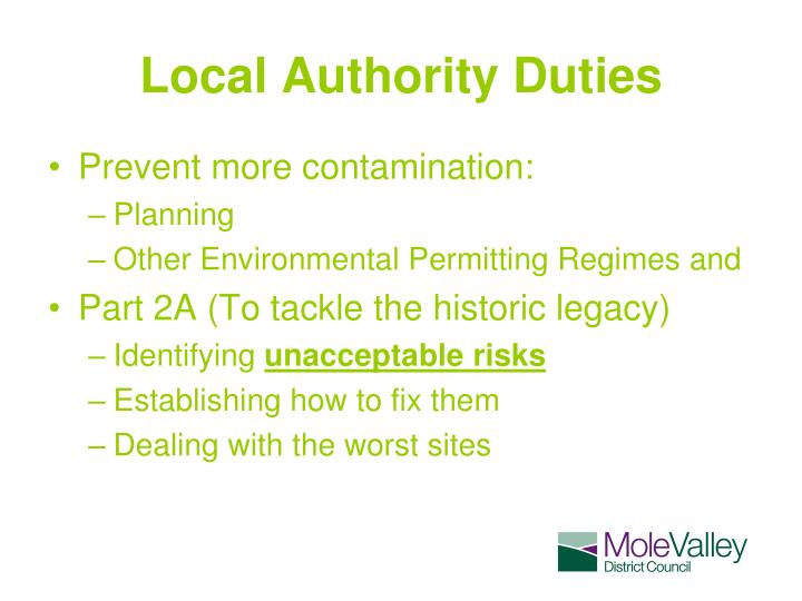 Local authority duties
