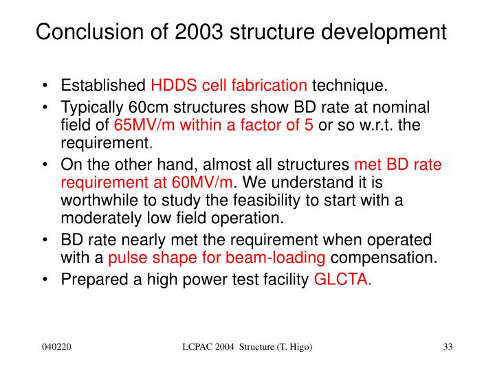 Conclusion of 2003 structure development
