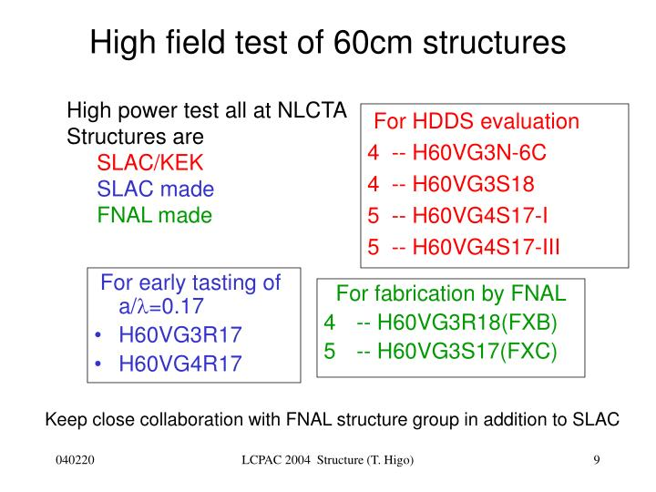 High field test of 60cm structures
