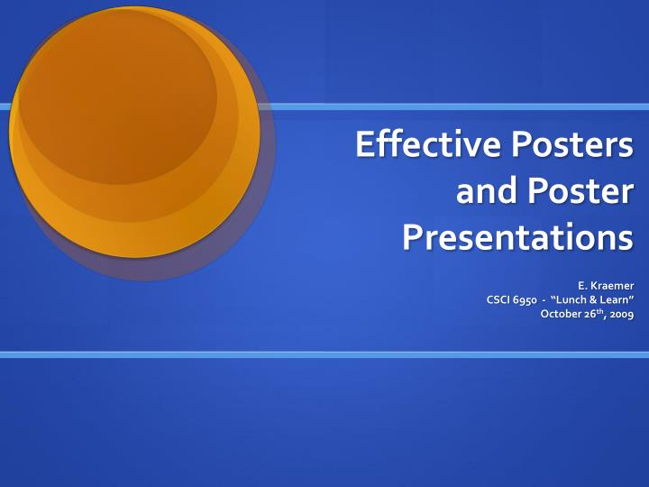 effective posters and poster presentations n.