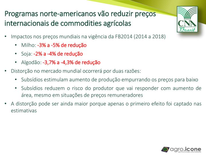 Programas norte-americanos vão reduzir preços internacionais de commodities agrícolas
