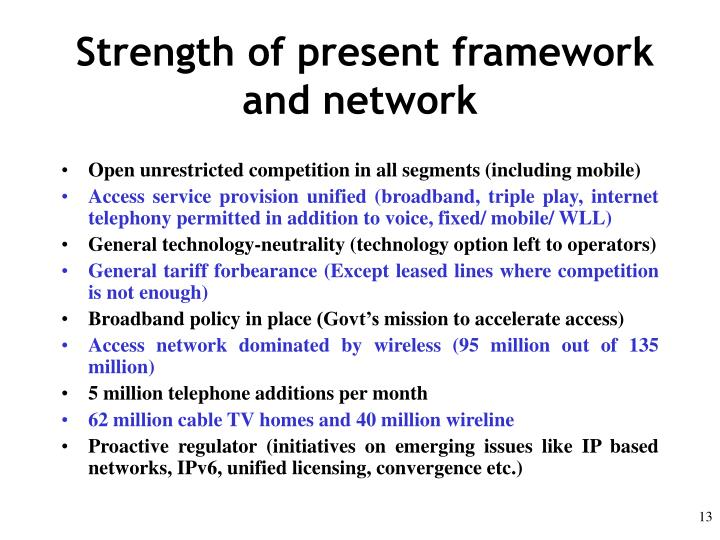 Strength of present framework and network