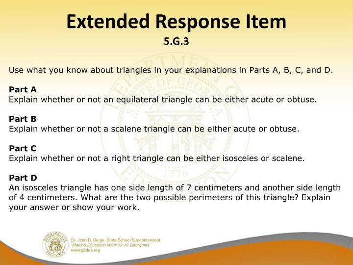 Extended Response Item