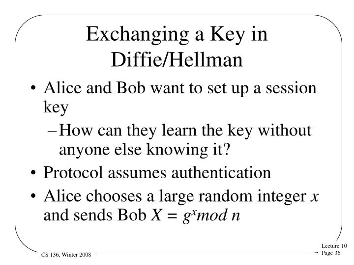 Exchanging a Key in Diffie/Hellman