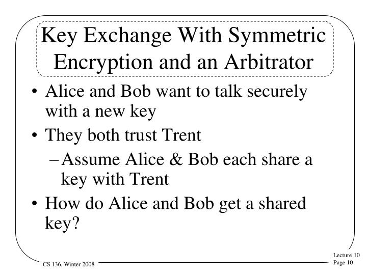 Key Exchange With Symmetric Encryption and an Arbitrator