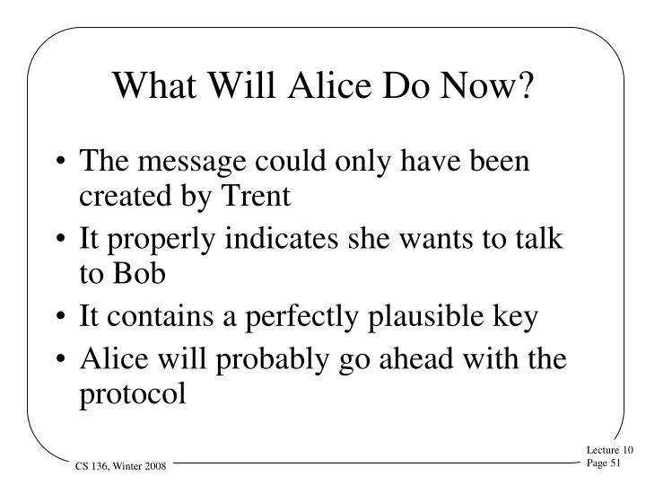 What Will Alice Do Now?