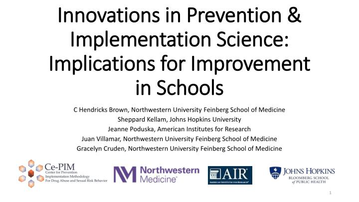 innovations in prevention implementation science implications for improvement in schools n.
