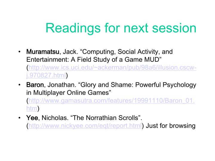 Readings for next session