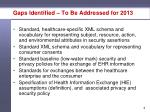 gaps identified to be addressed for 2013