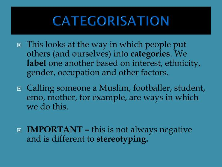 CATEGORISATION