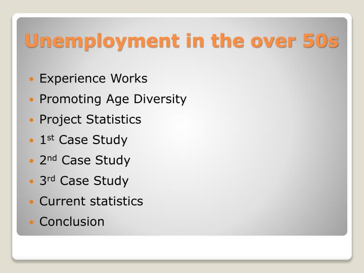 Unemployment in the over 50s1