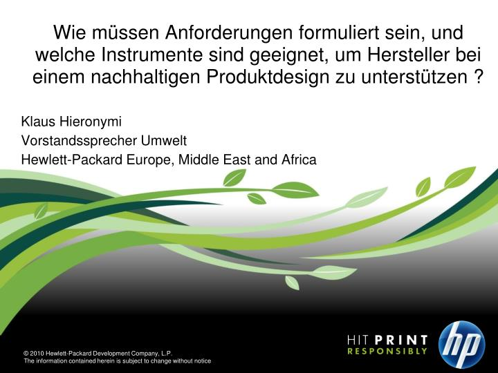 Klaus hieronymi vorstandssprecher umwelt hewlett packard europe middle east and africa