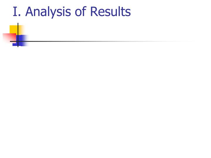 I. Analysis of Results
