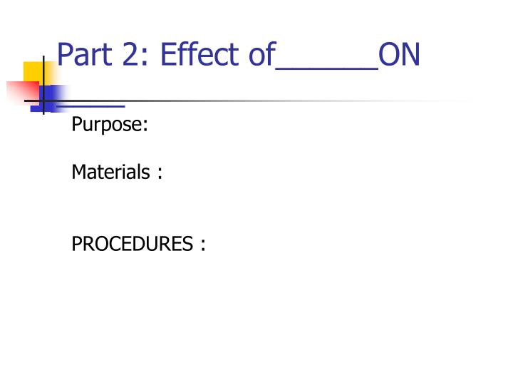 Part 2: Effect of______ON ____
