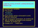 logical evaluation using boolean operator