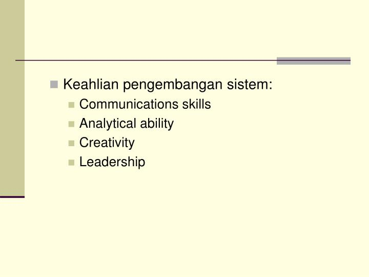 Keahlian pengembangan sistem: