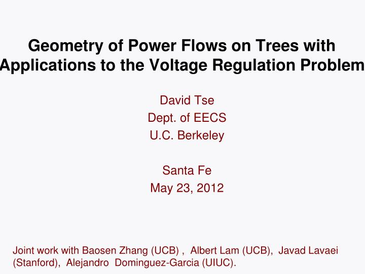 Geometry of power flows on trees with applications to the voltage regulation problem
