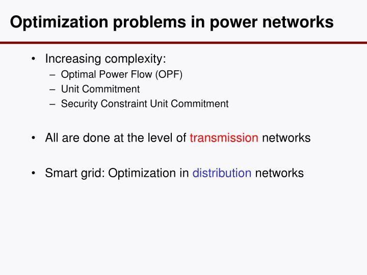 Optimization problems in power n etworks