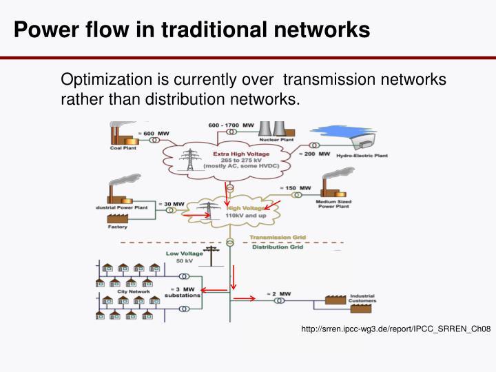 Power flow in traditional n etworks