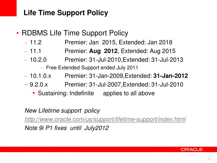Life Time Support Policy