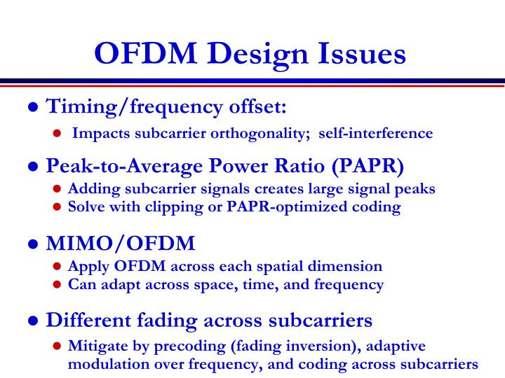 OFDM Design Issues
