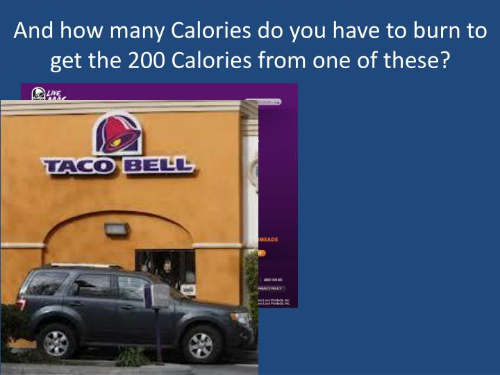 And how many Calories do you have to burn to get the 200 Calories from one of these?