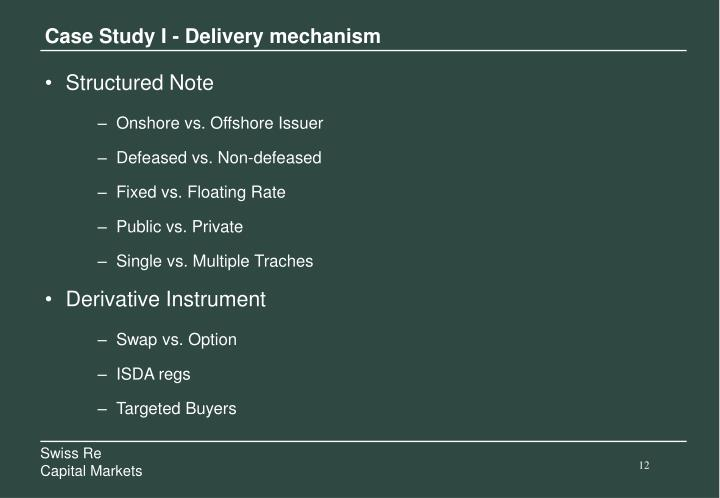 Case Study I - Delivery mechanism