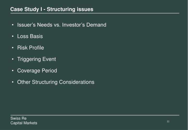 Case Study I - Structuring issues