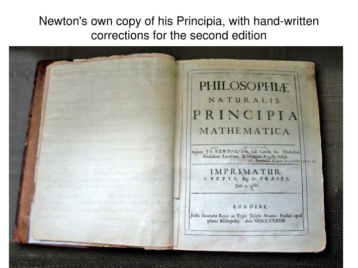 Newton's own copy of his Principia, with hand-written corrections for the second edition