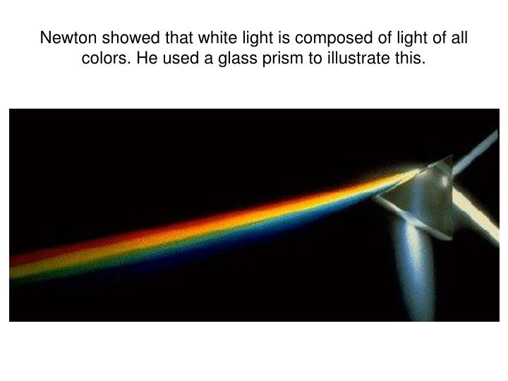 Newton showed that white light is composed of light of all colors. He used a glass prism to illustrate this.