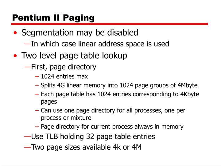 Pentium II Paging