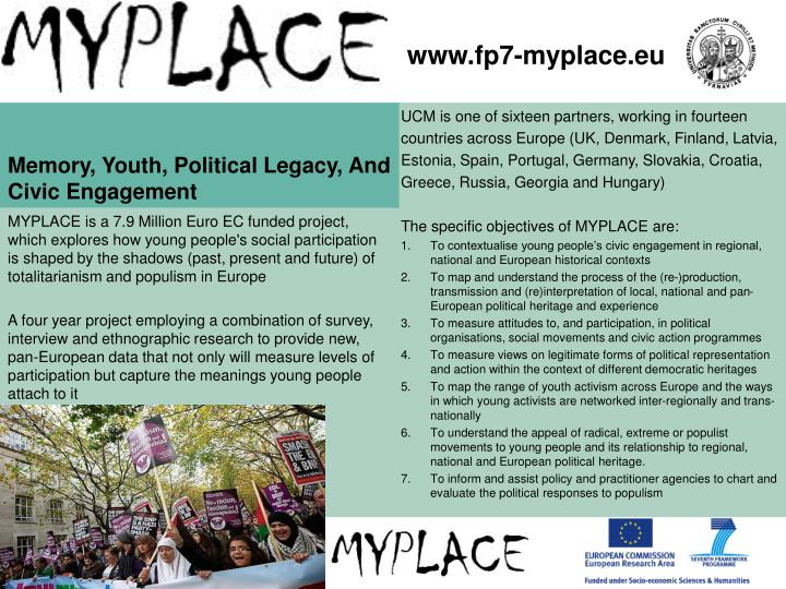 Memory youth political legacy and civic engagement