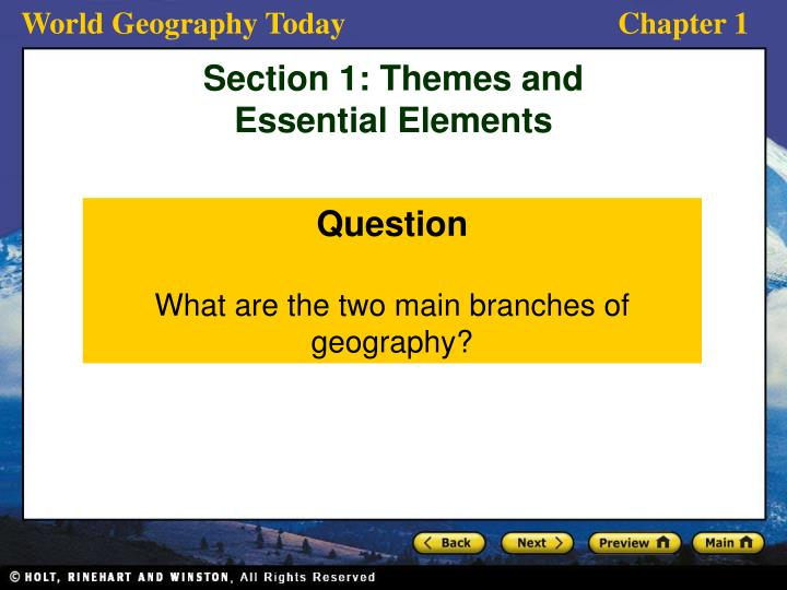 what are the 2 main branches of geography