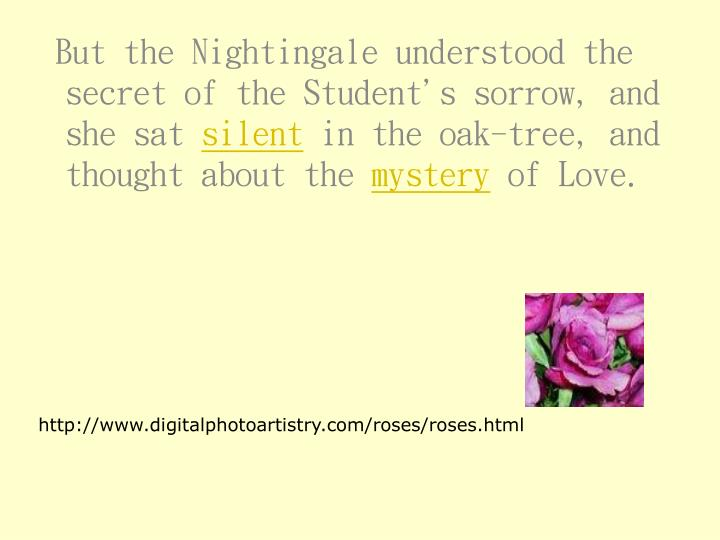 But the Nightingale understood the secret of the Student's sorrow, and she sat