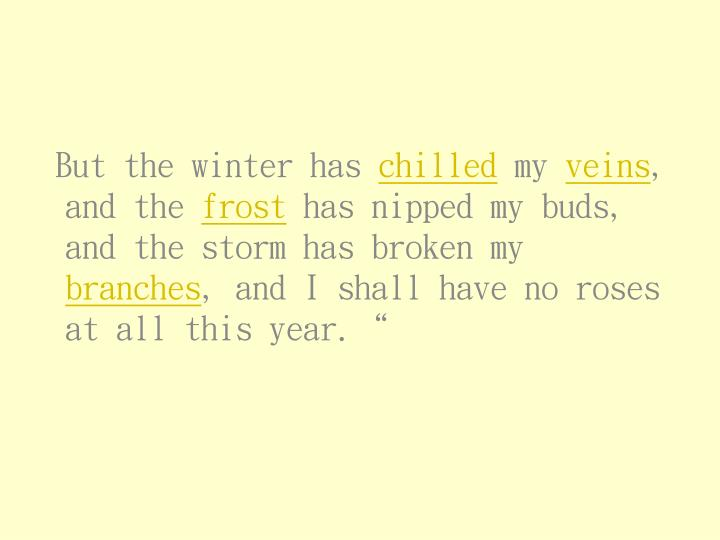 But the winter has