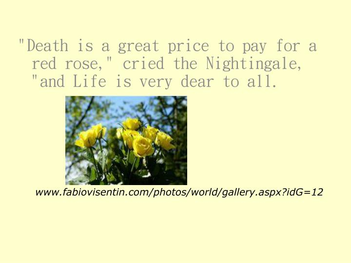 """""""Death is a great price to pay for a red rose,"""" cried the Nightingale, """"and Life is very dear to all."""
