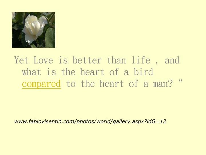 Yet Love is better than life , and what is the heart of a bird