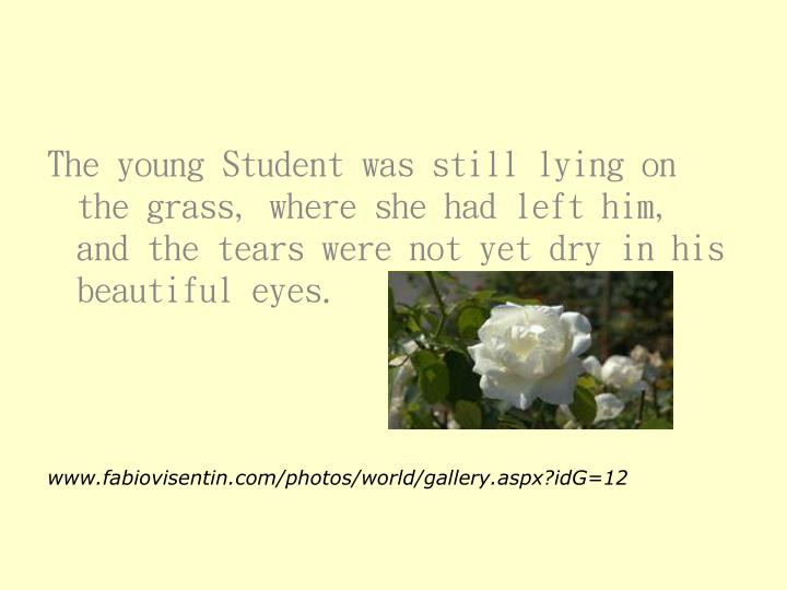 The young Student was still lying on the grass, where she had left him, and the tears were not yet dry in his beautiful eyes.