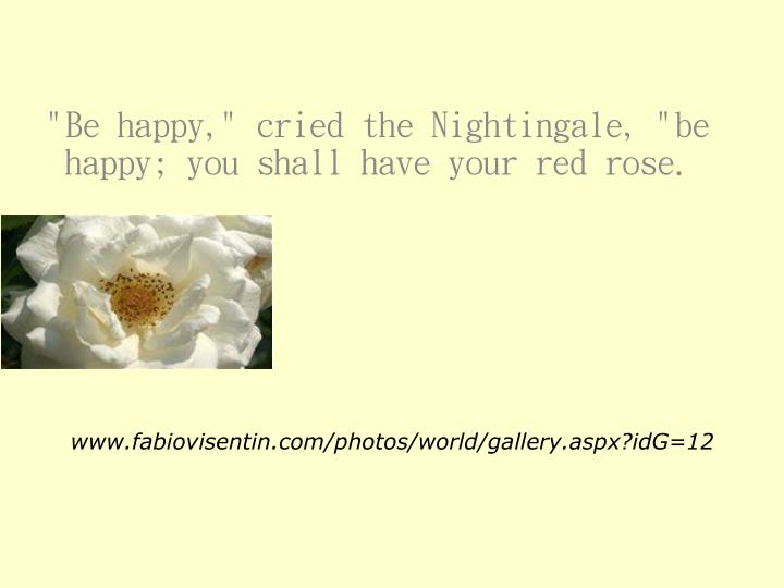 """""""Be happy,"""" cried the Nightingale, """"be happy; you shall have your red rose."""
