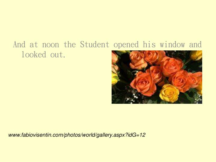 And at noon the Student opened his window and looked out.