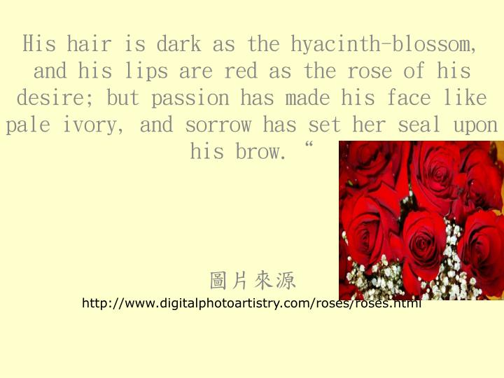 """His hair is dark as the hyacinth-blossom, and his lips are red as the rose of his desire; but passion has made his face like pale ivory, and sorrow has set her seal upon his brow."""""""