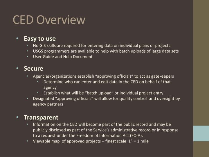 CED Overview