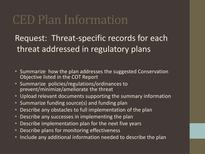 CED Plan Information