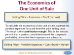 the economics of one unit of sale1