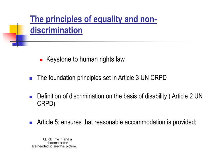 The principles of equality and non discrimination