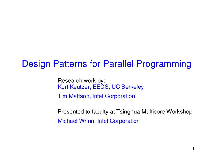 design patterns for parallel programming n.
