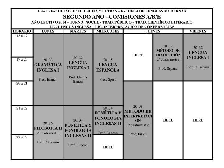 Horario ingles 2014 t noche