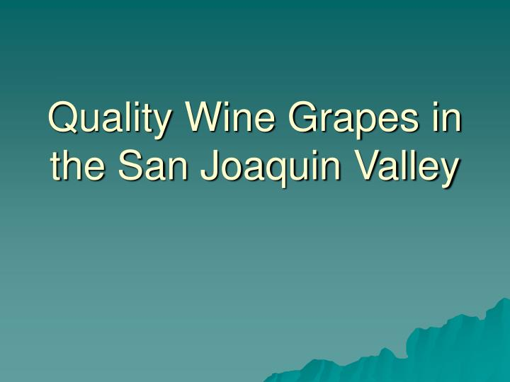 quality wine grapes in the san joaquin valley n.