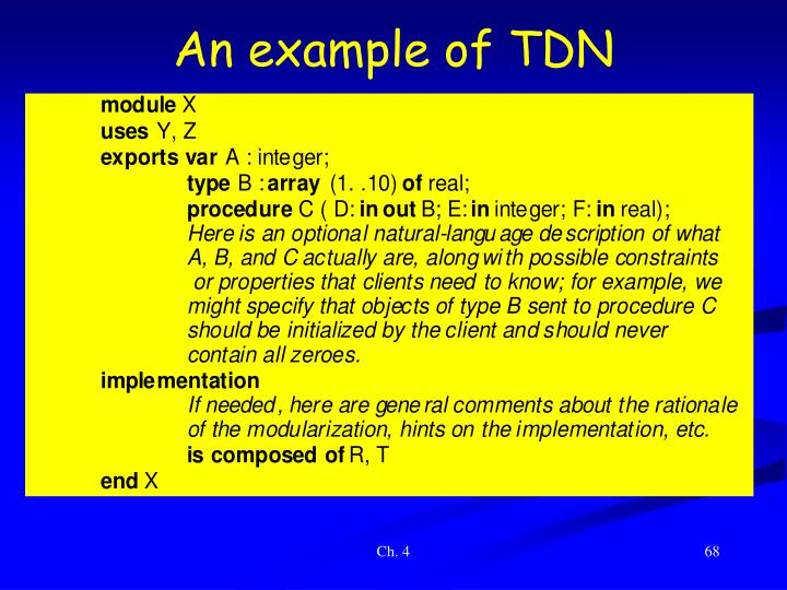 An example of TDN